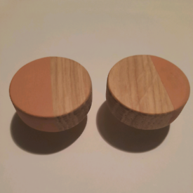 Set of 2 pink solid oak furniture handles