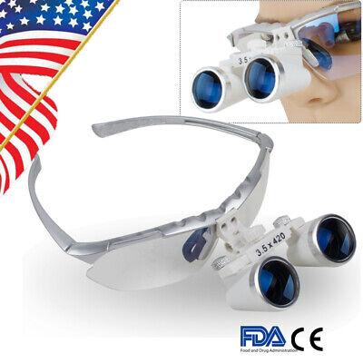 Us 3.5x420mm Dental Lab Silver Surgical Medical Binocular Loupe Optical Glass Ce