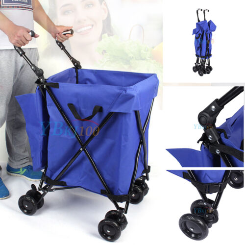 Folding Utility Cart With Wheels And Bag Laundry Grocery