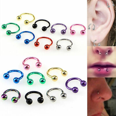 - 4X 16G Multicolor Horseshoe Bar Lip Septum Ear Nose Ring Stud Ball Cone Piercing