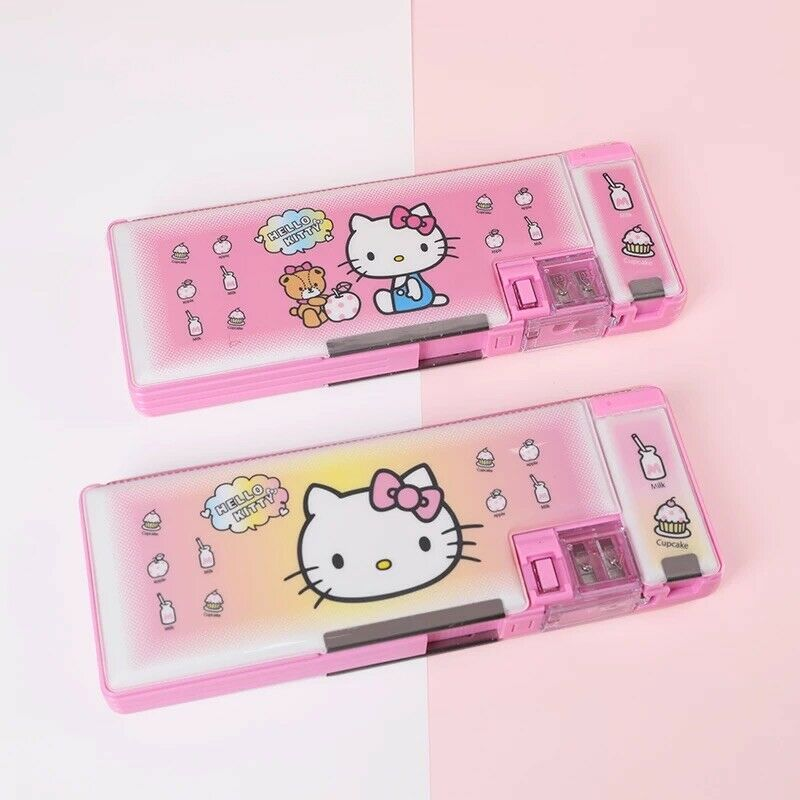 Hello Kitty School Pencil Box Magnetic Case Two Sided Multi-Use with Sharpener