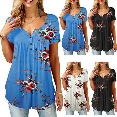 Short Sleeve Womens Blouse - Womens Summer Floral Tee T Shirts Short Sleeve Blouse Casual Loose Tunic Tops US