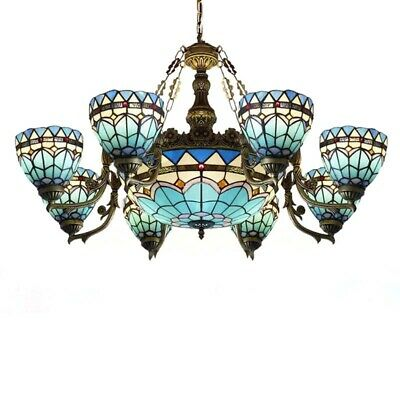 Tiffany Baroque Stained Glass Lamp Large Chandelier Room Ceiling Light Fixture Large Ceiling Fixture
