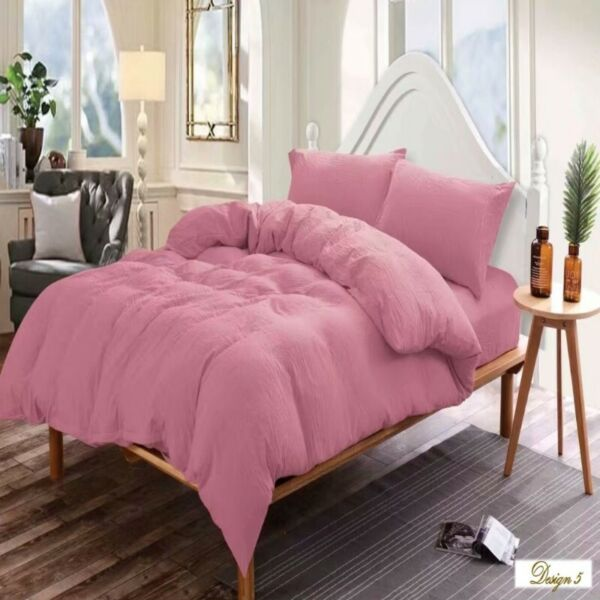 QUEEN BED Deep Pink Color Fitted BedSheet +2 Pillowcases Set
