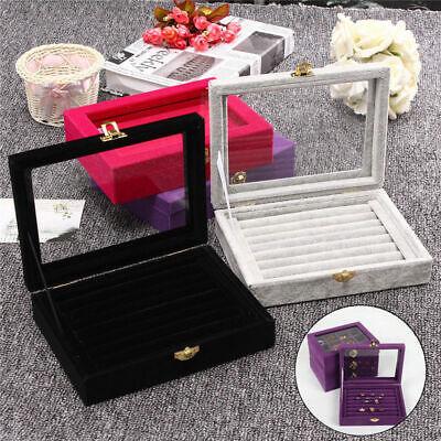 Earring Ring Jewelry Display Velvet Ring Tray Organizer Holder Storage Show Case ()