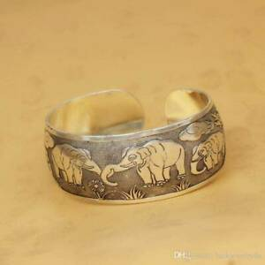 Bohemian Silver Elephant Style 2 Tibetan Carving Cuff Bangle