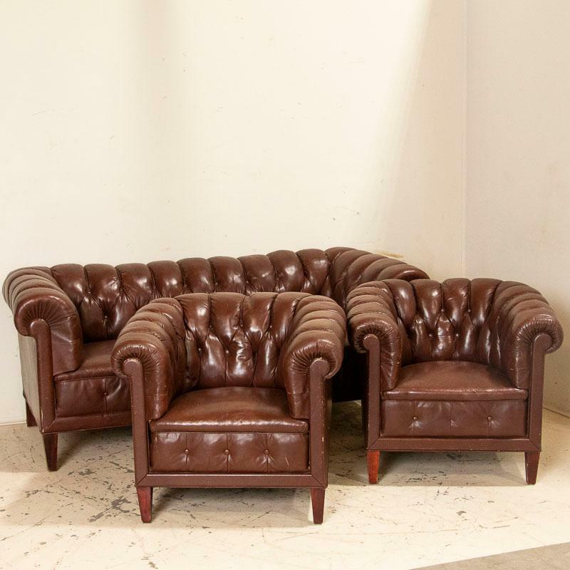 Antique Set of Brown Vintage Leather Chesterfield Sofa and Pair of Club Chairs,