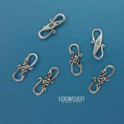 6 PC Antiqued Solid Sterling Silver ap.13mm Carved S Hook Clasp Connector -
