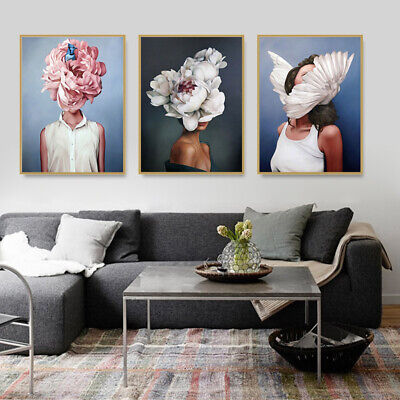 Abstract Beauty Women Flower Wall Art Canvas Painting Posters Picture Home Decor