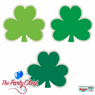 Shamrocks Mini Cut-outs (50 MINI GLITTER SHAMROCK CUTOUTS St Patricks Day Green Irish Party Decorations)