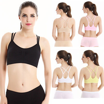 Women Sexy Tops Backless Bra Sports Tank Athletic Solid Tops Wrap Chest Bra Lots