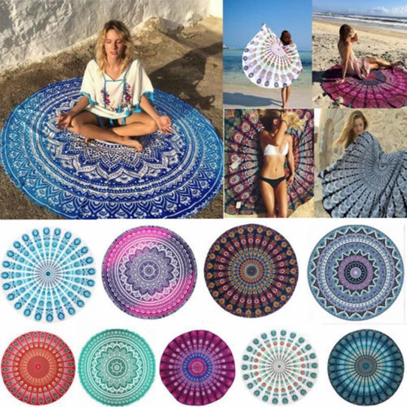 Round Indian Mandala Tapestry Throw Hippie Beach Blanket Yog
