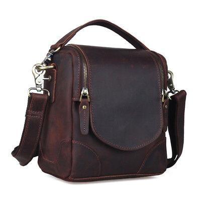 Vintage Leather Camera Bag for Canon Nikon DSLR Shoulder Messenger Bag Satchel