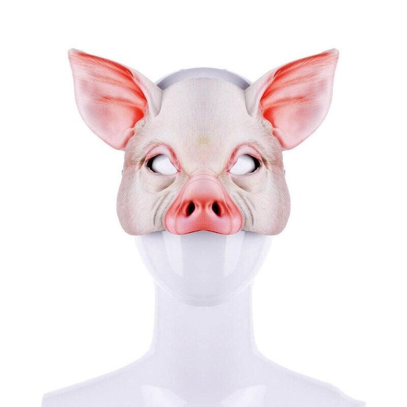 Realistic Pig Mask Halloween Half Face Funny Costume Masquerade Animal Cosplay