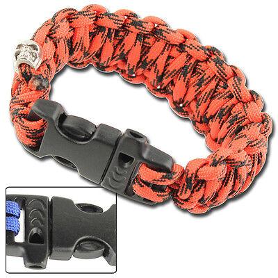 Military Digital Red Skullz Survival Whistle 17.06 FT Unisex Paracord Bracelet