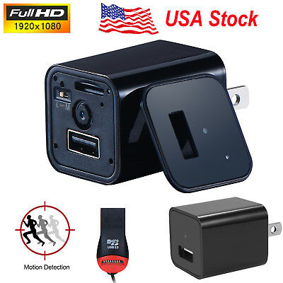 US Stock HD 1080P USB Spy Camera UX-8 AC Adapter USB Wall Charger Camcorder DVR