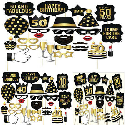 28PC 30th 40th 50th Birthday Party Photo Booth Requisiten Schnurrbart Frame Game