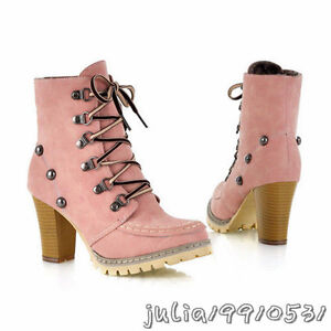 NEW Women's Sexy Ankle High Heel Boots Lace Up Fashion Shoes US All Size N782