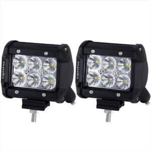 Pair 4inch 18W CREE Spot Flood LED Work Light Bar Offroad 4WD