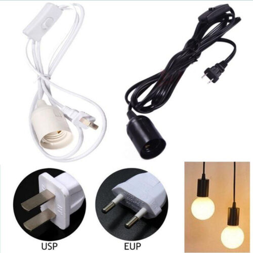 E27 Plug-In Lamp Bulb Socket Cord with Switch Hanging Pendan