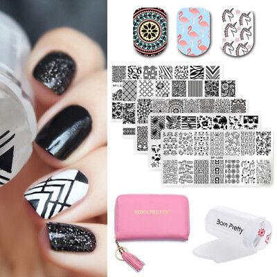 8Pcs Kit Born Pretty Nail Art Stamping Plates   Holder Case   Stamper   Scraper