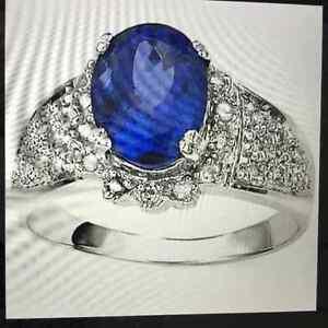 New 1.25 Carat Tanzanite & 30 Diamonds Crafted in 14K White Gold