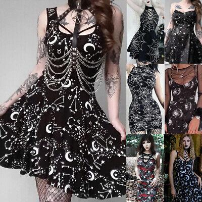 Halloween Dress Women (Halloween Gothic Women Retro Moon Spiderweb Floral Party Gown Dress)
