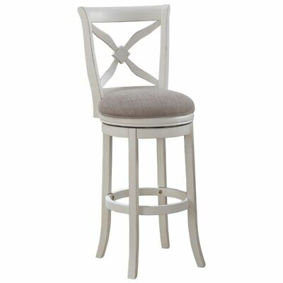 """Bowery Hill 30"""" Swivel Bar Stool in Distressed Antique White"""