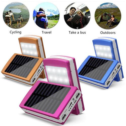 Solar LED Portable Dual USB Power Bank 5x 18650 External Battery Charger DIY Box