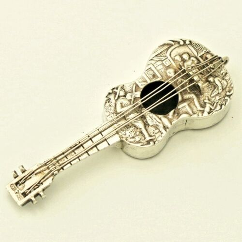 Antique European Solid Silver Guitar Novelty Snuff Box Case Figurine Victorian