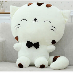 Yellow Cute Plush Stuffed Toy Fortune Cat Kitty Tail Gift Doll High Sofa Pillow