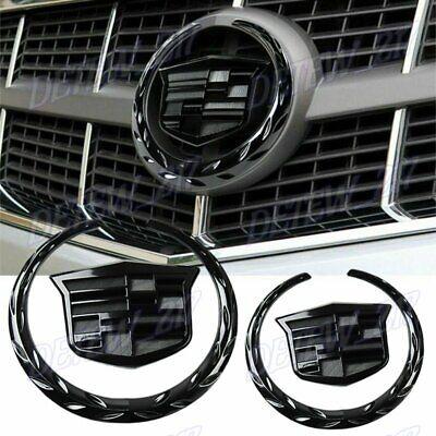 X2 Black Cadillac Front Grille Rear Trunk Lid Badge Emblem for Escalade SRX XTS