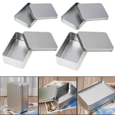 US Stock Small Metal Tin Silver Storage Box Case Organizer Durable Containers](Metal Containers)