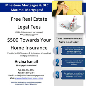 Purchasing a home? Free legal fees and $500 off home insurance!!