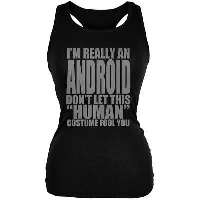 Halloween Human Android Costume Juniors Soft Tank Top - Android Halloween
