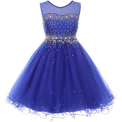 Elegant Sparkling Sleeveless Knee Length Flower Girl Royal Blue Formal - Elegant Flower Girl Dresses