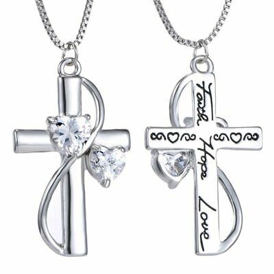 Women Silver Crystal Faith Hope Love Cross Pendant Necklace Valentines Day Gift