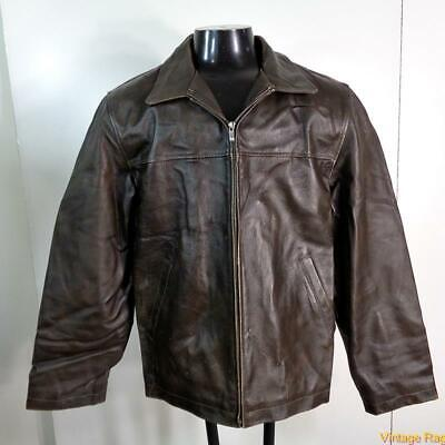 JANERO  Leather Bomber JACKET Mens Size L Brown insulated zippered