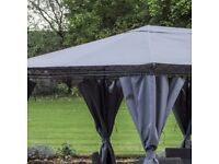 Brand New Bexley 3m x 3m Gazebo With Graphite Grey Roof and curtains