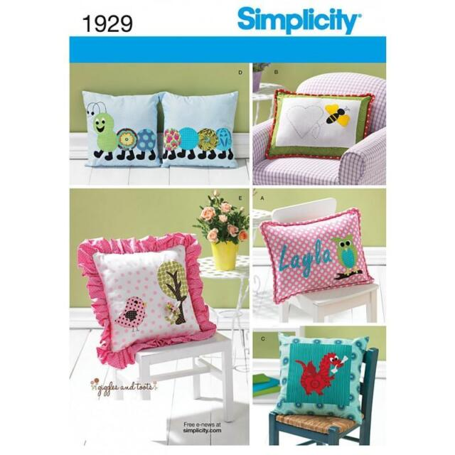 SIMPLICITY SEWING PATTERN APPLIQUED PILLOW CUSHION 1929