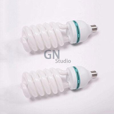 2x 125W Daylight Spiral Bulb 5500K E27 Photo Studio Photography Fluorescent Lamp