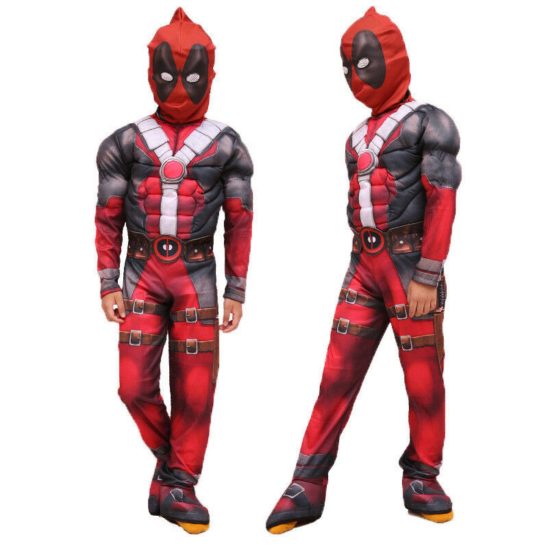 Superhero Spiderman Deadpool Costume Cosplay Kids Boys Party Fancy Dress Outfits