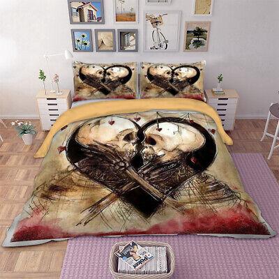 King Size Queen Size Duvet Cover - Skull Duvet Cover Set For Comforter Queen King Size Bedding Set Pillow Cases
