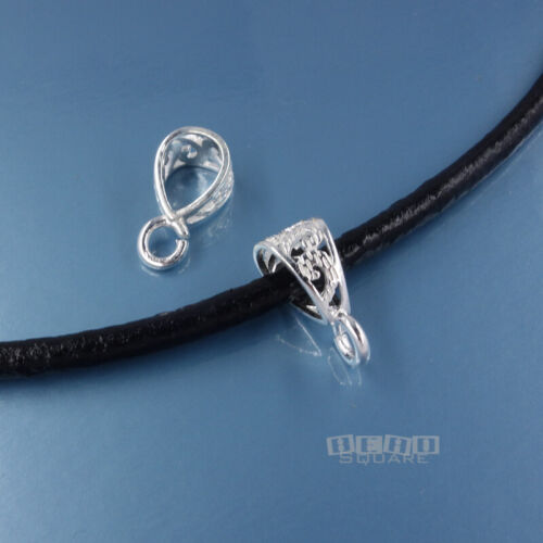 Solid Sterling Silver Filigree Scroll Pendant Bail Connector w/ Open Loop