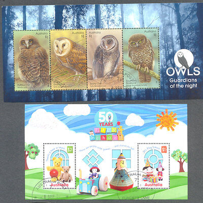 Australia-2016 min sheets Owls + Play school excellent  f-used cto