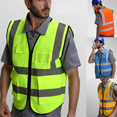 High Visibility Reflective Waistcoat Construction Safety Vest Traffic Jacket