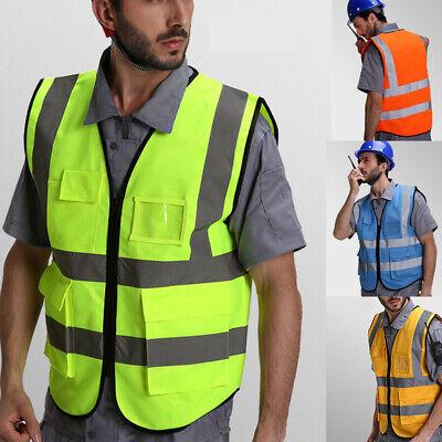 High Visibility Reflective Waistcoat Construction Safety Vest Traffic Jacket Us