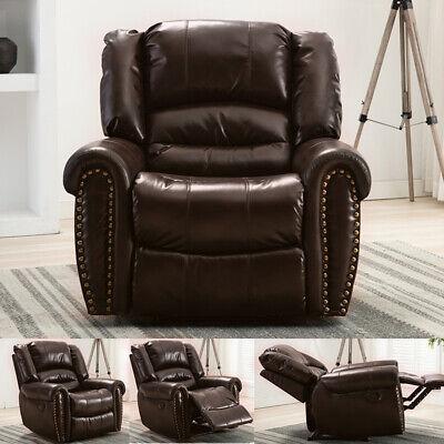 Leather Recliner Chair Oversize sofa Vintage Rivet Design Armchair Dark Brown