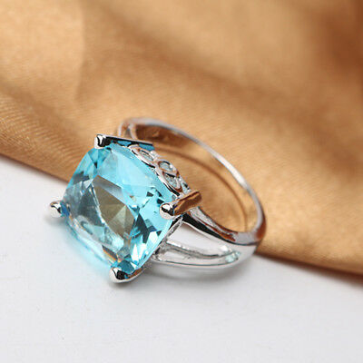 2018 Rings For Women Silver Plated Engagement Big Blue Crystal Stone Zircon Ring