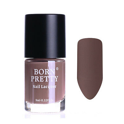9ml Matte Dull Nail Polish  Nail Art Varnish Polish Born Pretty Brown (Brown Nail Polish Matte)